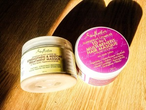 Shea Moisture  (left) Jamaican Black Castor Oil Stengthen and Restore Treament Masque (Right) - Superfruit Complex 10 in 1 Multi- Benefit Hair Masque